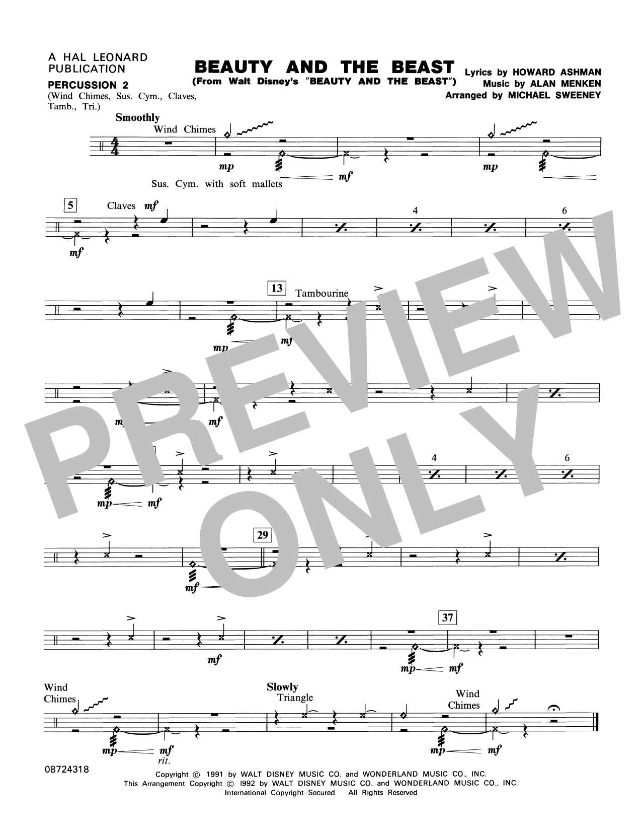 Beauty and the Beast - Percussion 2 Sheet Music