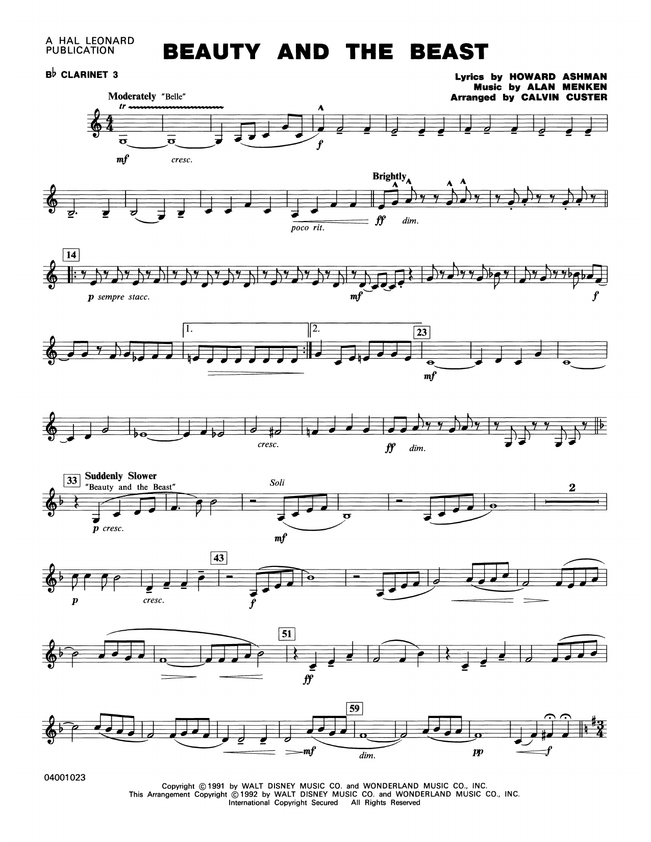 Beauty and the Beast (Medley) - Bb Clarinet 3 Sheet Music