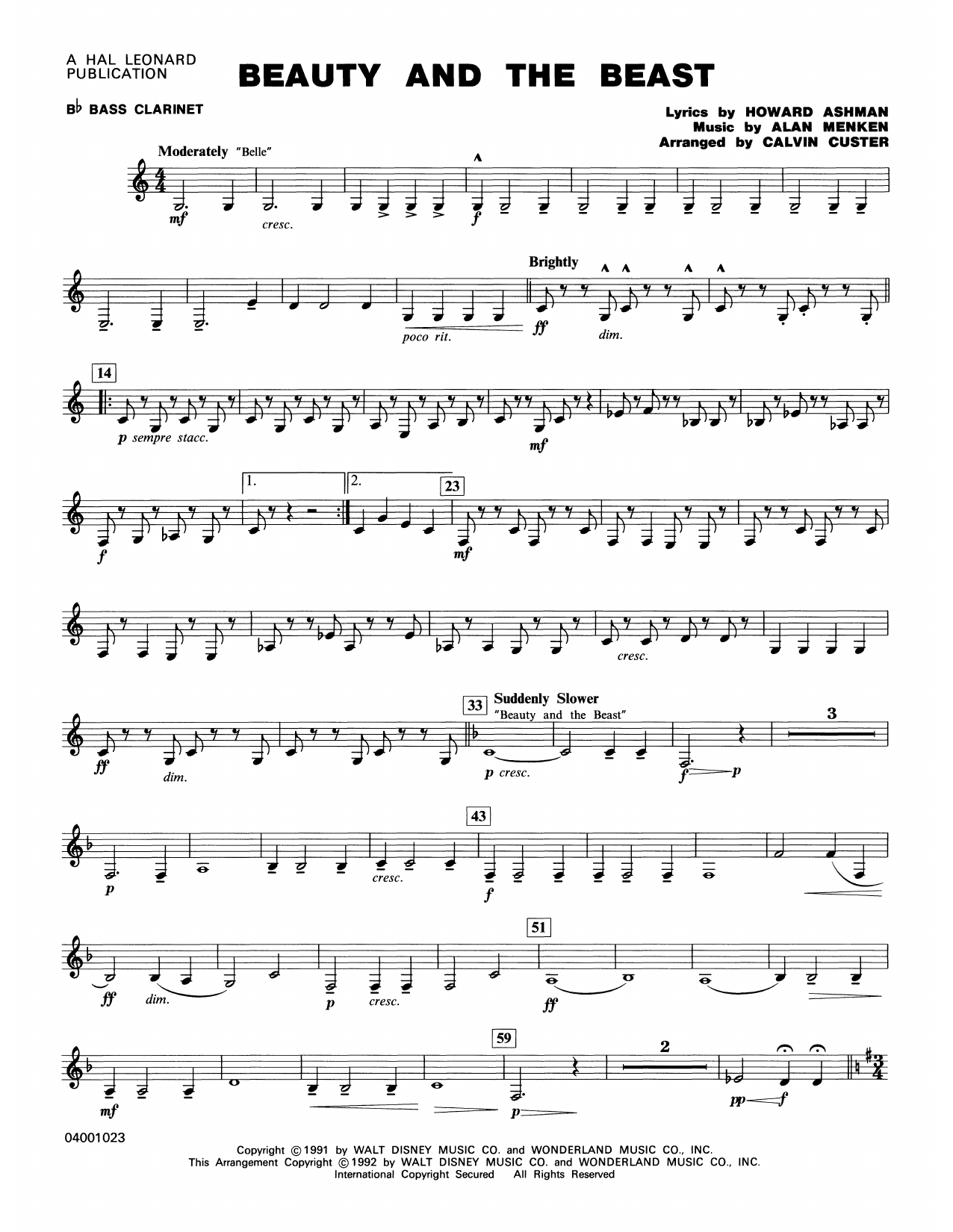 Beauty and the Beast (Medley) - Bb Bass Clarinet Partition Digitale