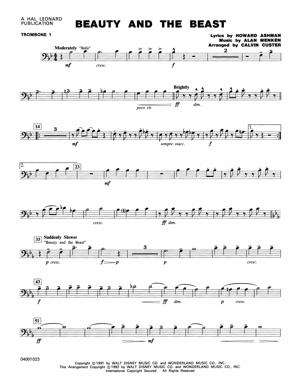 Beauty and the Beast (Medley) - Trombone 1 Sheet Music