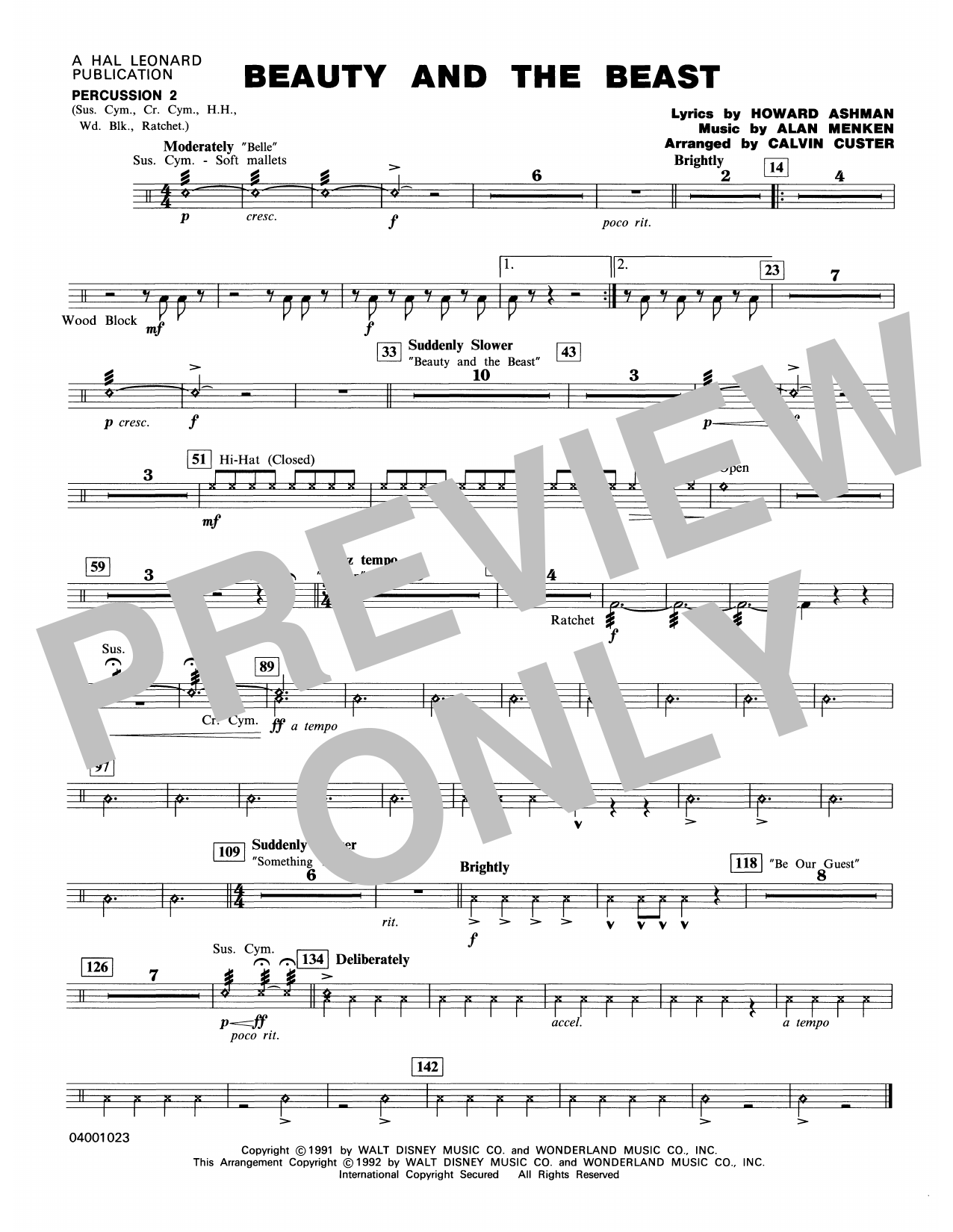 Beauty and the Beast (Medley) - Percussion 2 Sheet Music