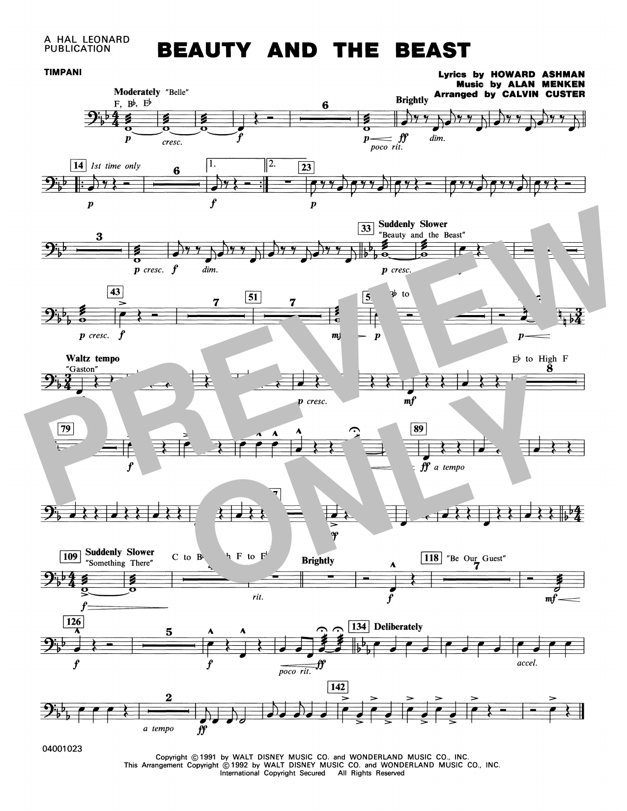 Beauty and the Beast (Medley) - Timpani Partition Digitale