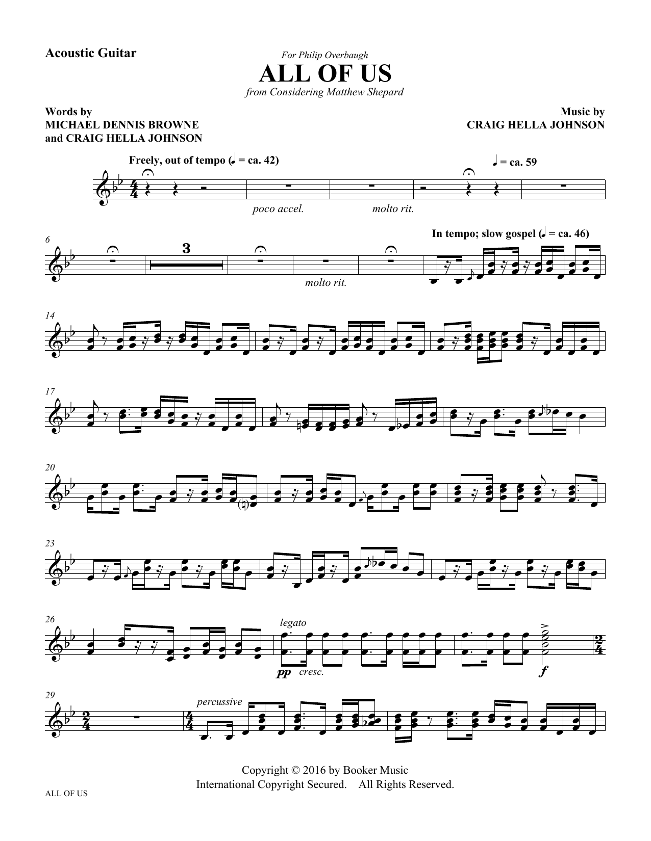 All of Us - Acoustic Guitar Sheet Music