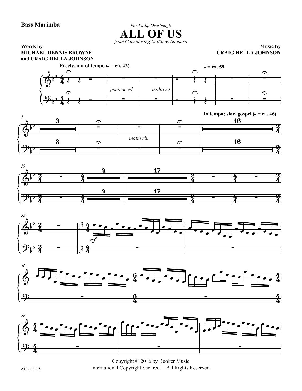 All of Us - Bass Marimba Sheet Music
