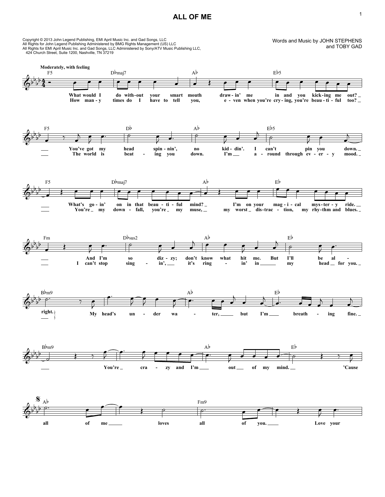All Of Me (Lead Sheet / Fake Book)