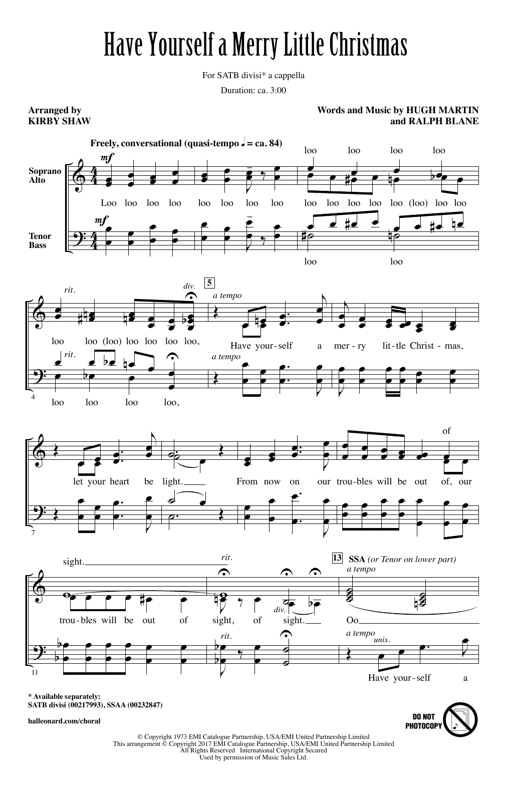 Have Yourself A Merry Little Christmas (SATB Choir)