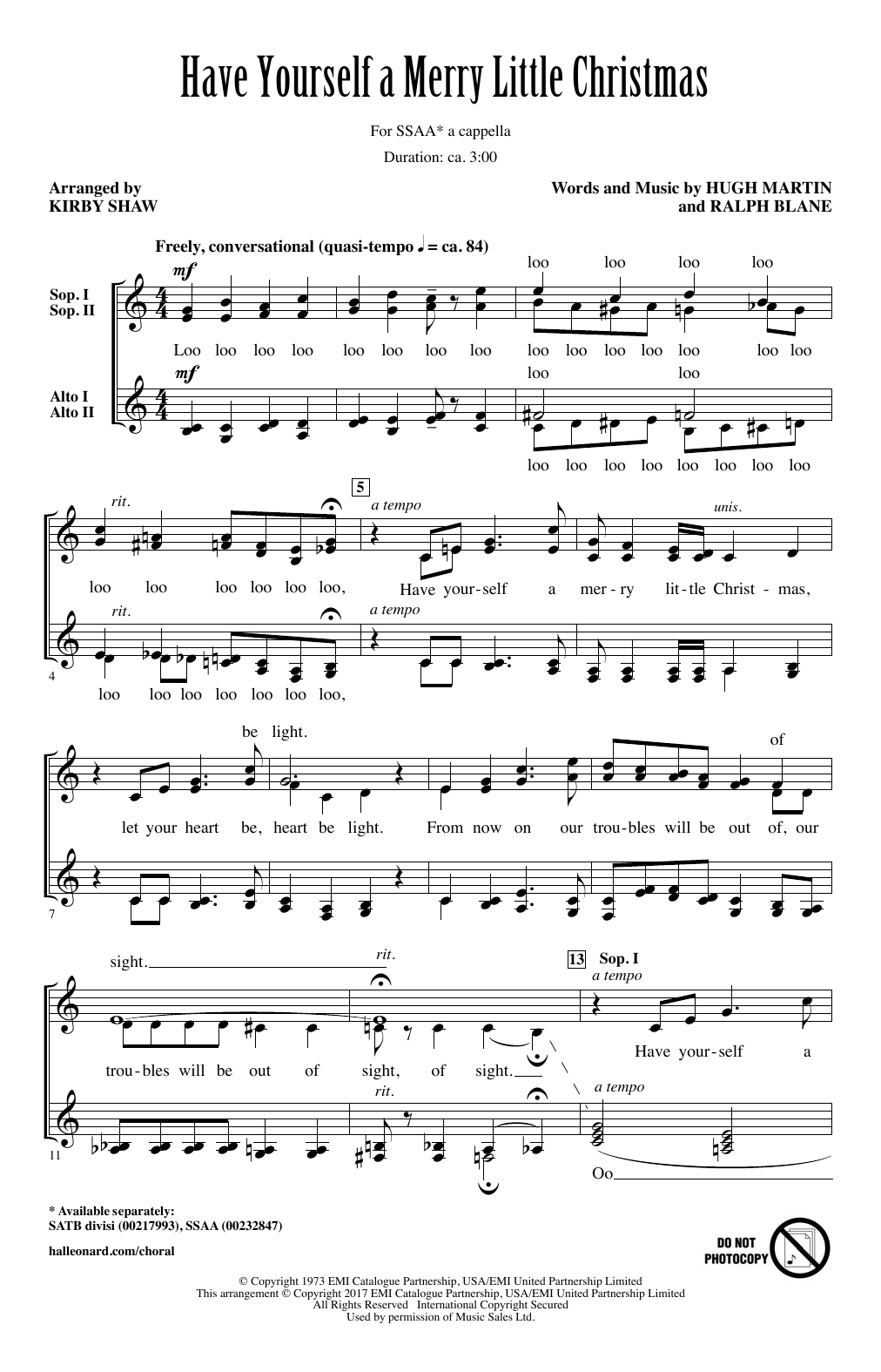 Have Yourself A Merry Little Christmas (arr. Kirby Shaw) (SSA Choir)