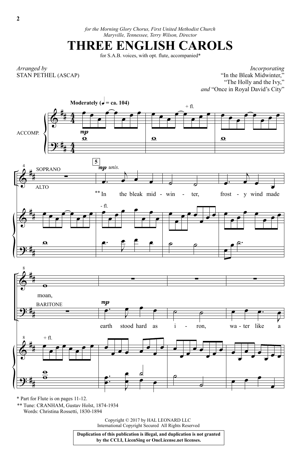 Three English Carols Sheet Music