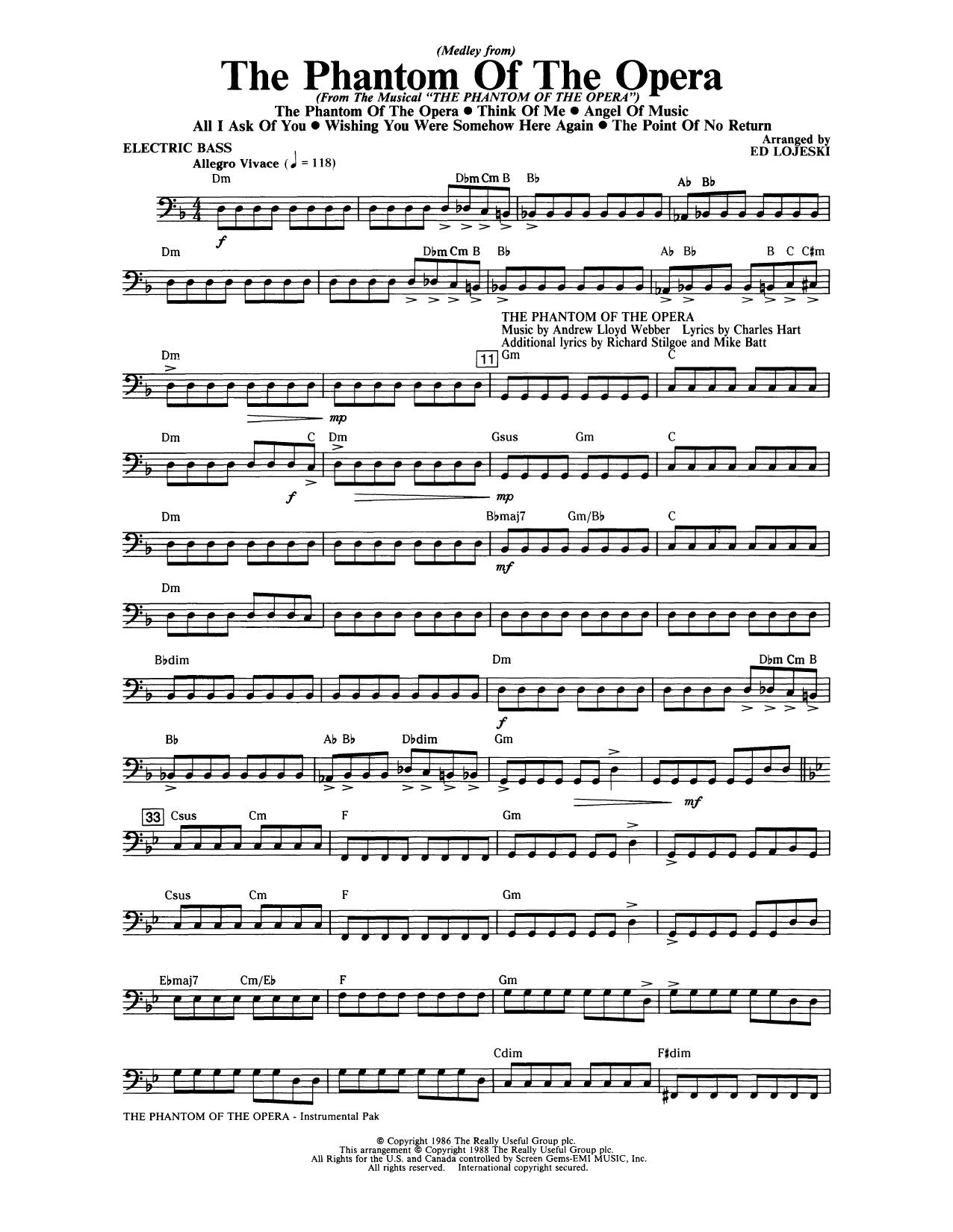 The Phantom Of The Opera (Medley) (arr. Ed Lojeski) - Electric Bass Sheet Music
