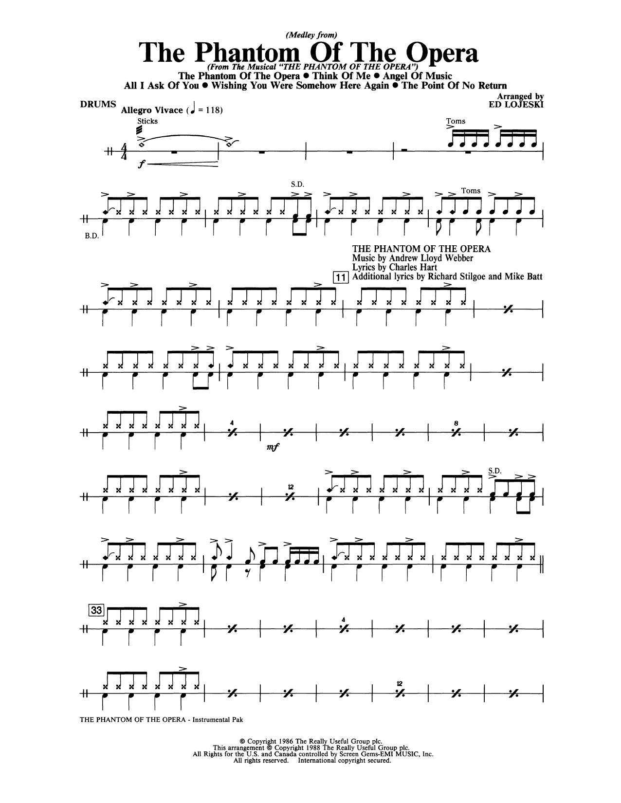 Phantom Of The Opera, Medley From Instrumental Pak - Drums Sheet Music