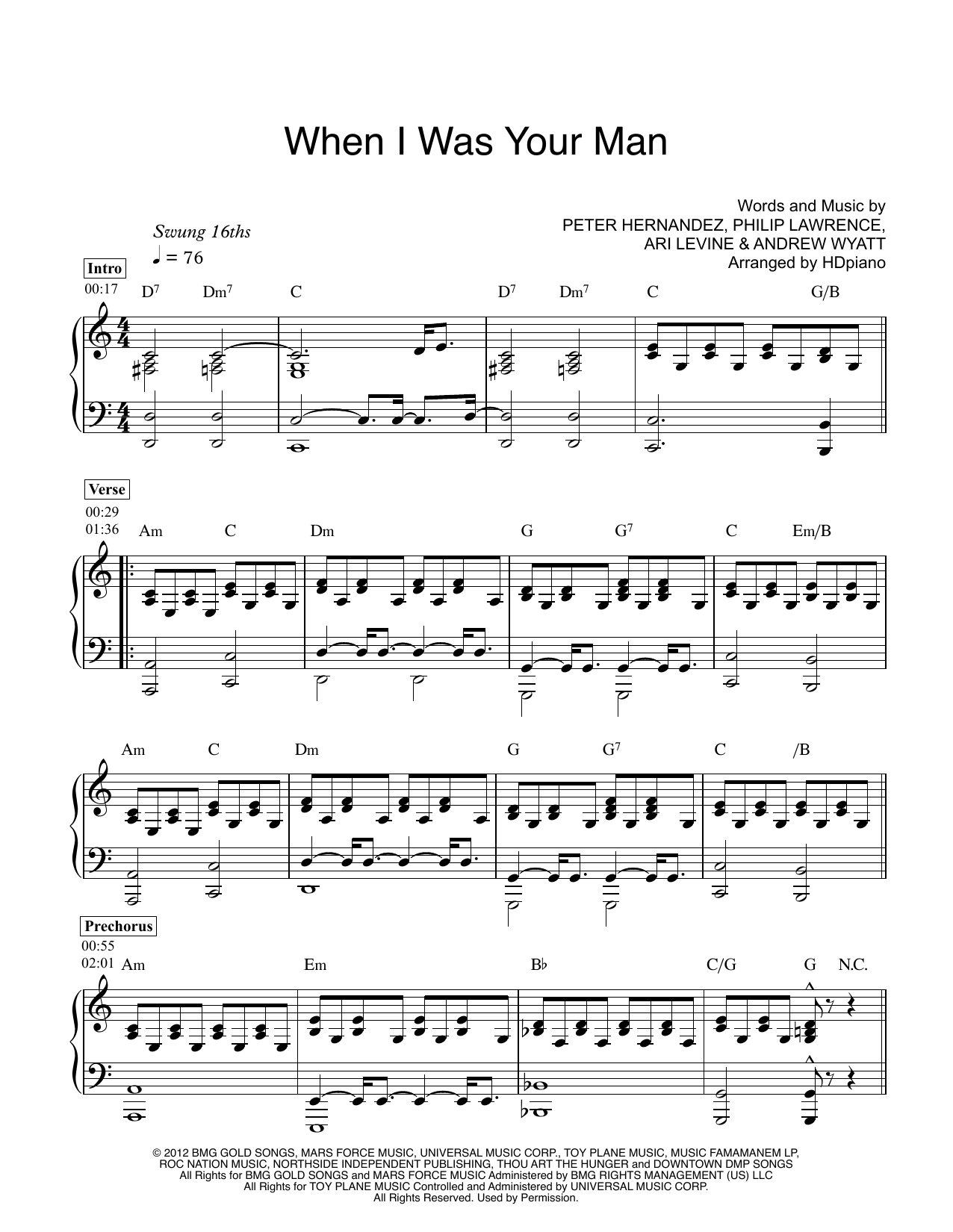 When I Was Your Man Sheet Music Direct