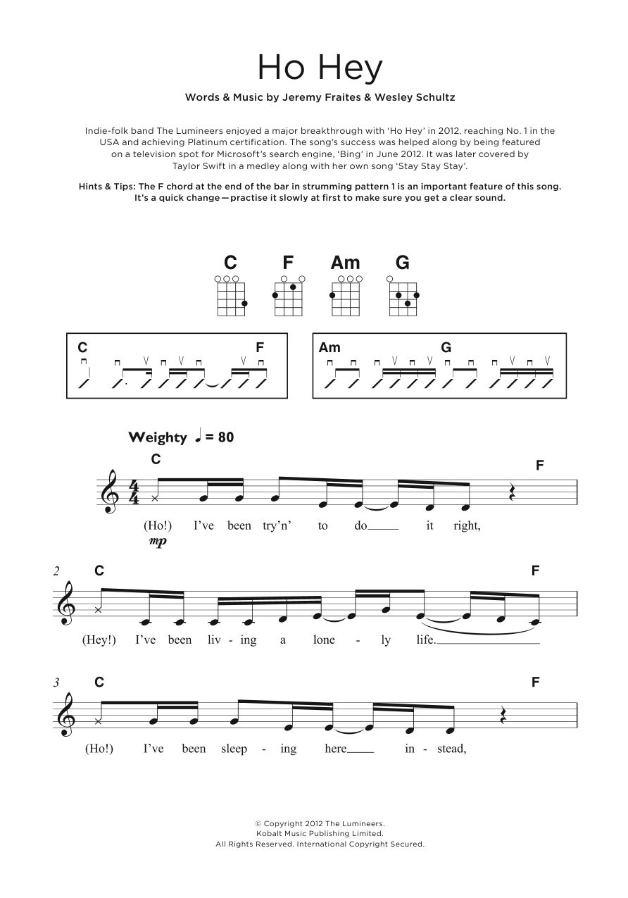 Contemporary Ho Hey Chords Guitar Composition Beginner Guitar