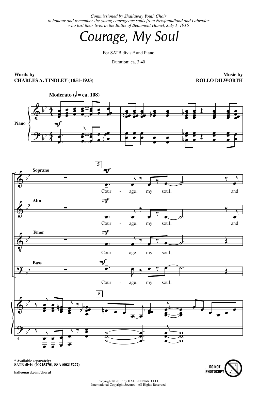 Courage, My Soul Sheet Music