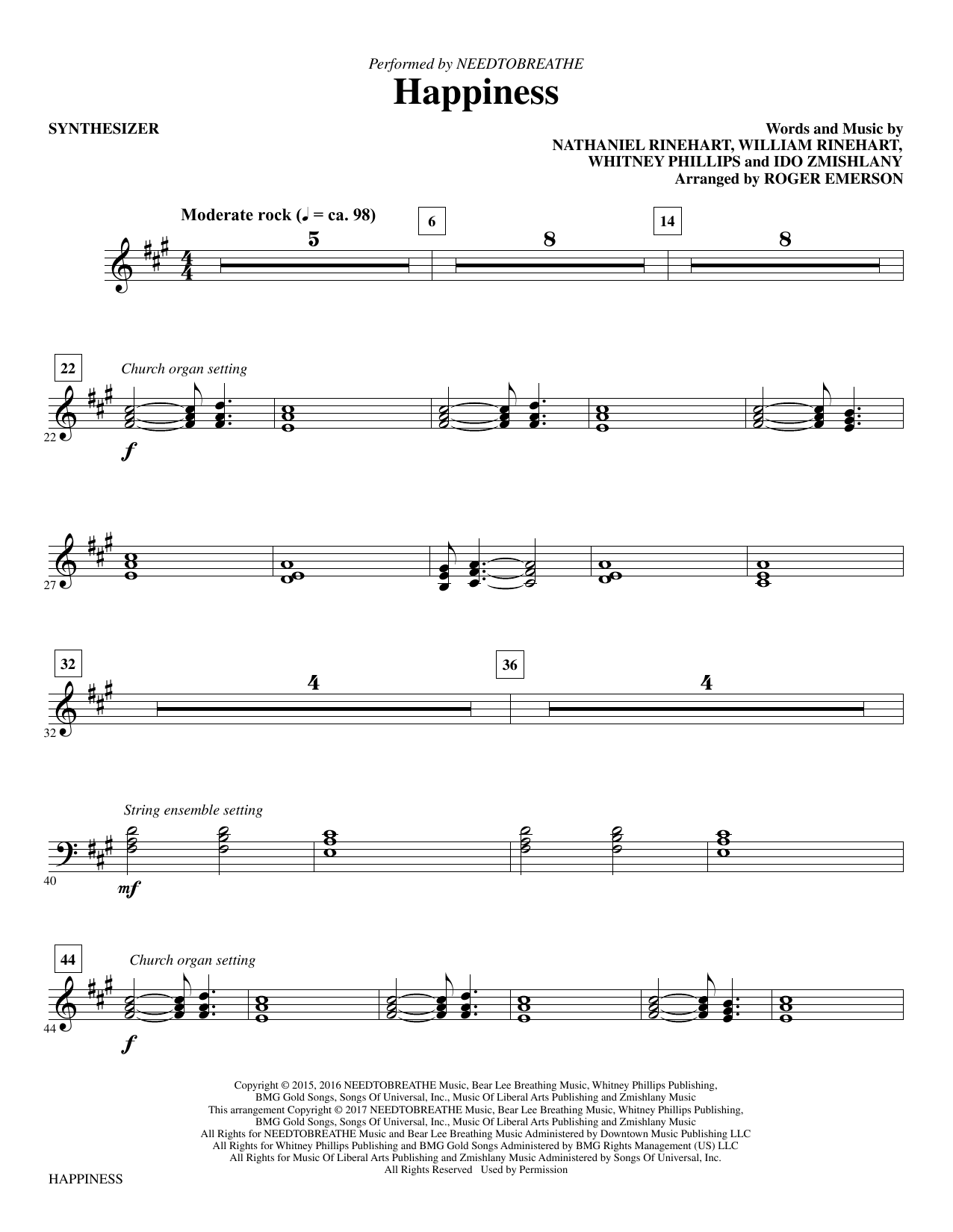 Happiness - Synthesizer Sheet Music