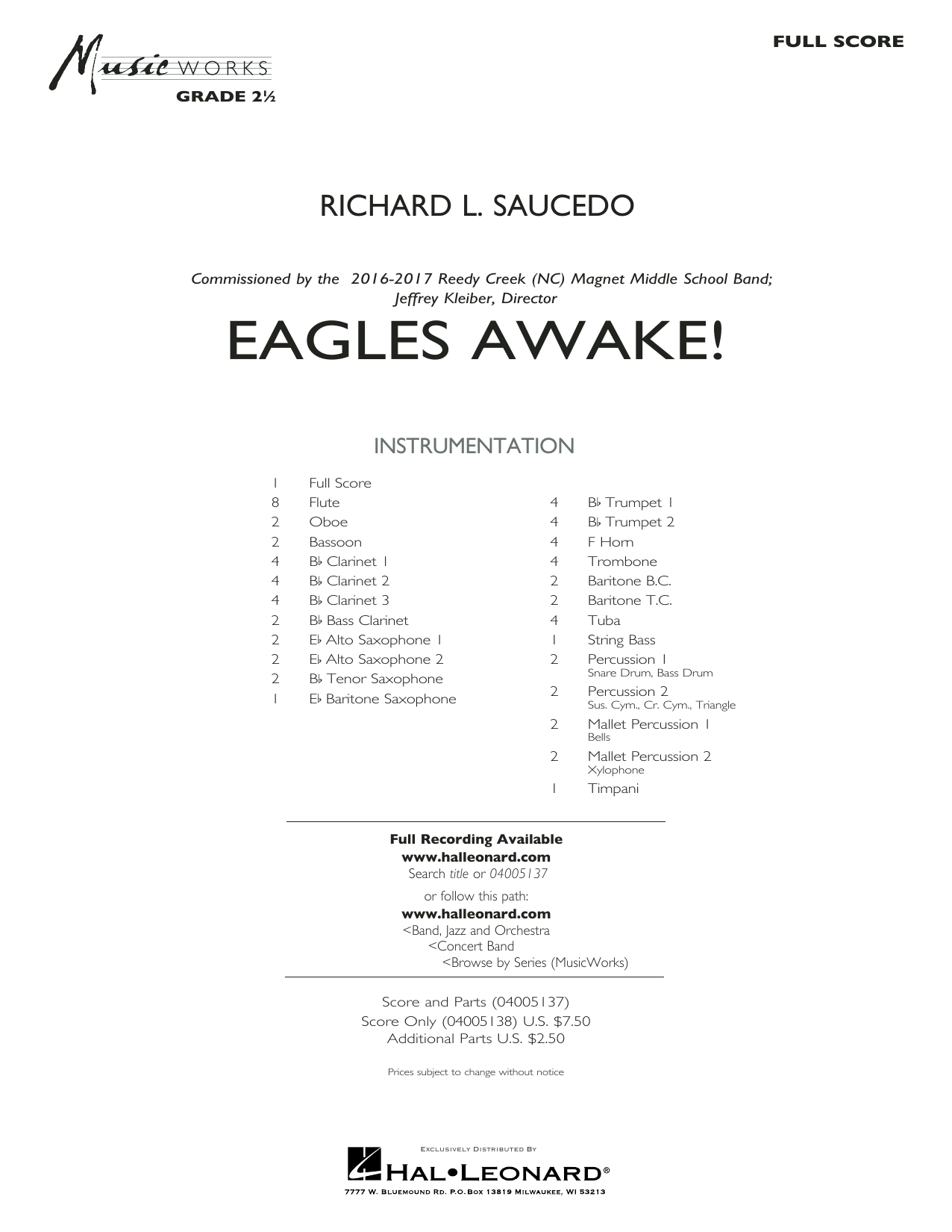 Eagles Awake! (COMPLETE) sheet music for concert band by Richard L. Saucedo. Score Image Preview.
