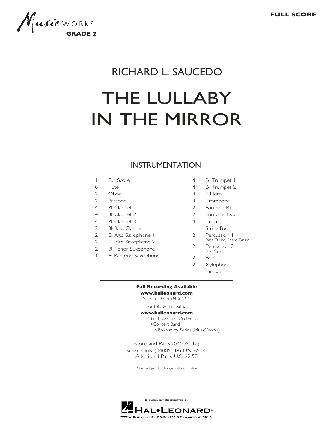 The Lullaby in the Mirror (COMPLETE) sheet music for concert band by Richard L. Saucedo. Score Image Preview.