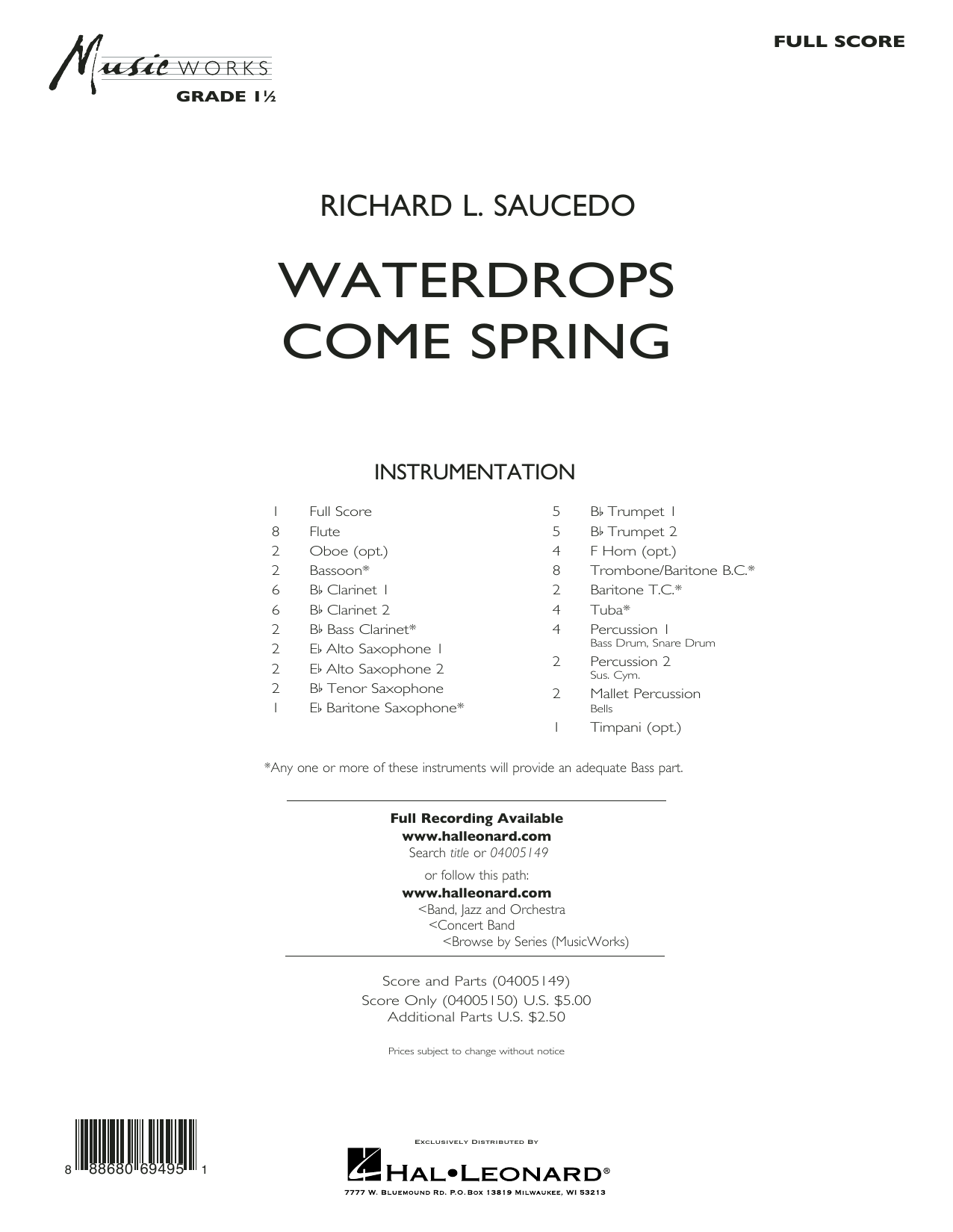 Waterdrops Come Spring - Conductor Score (Full Score) Sheet Music