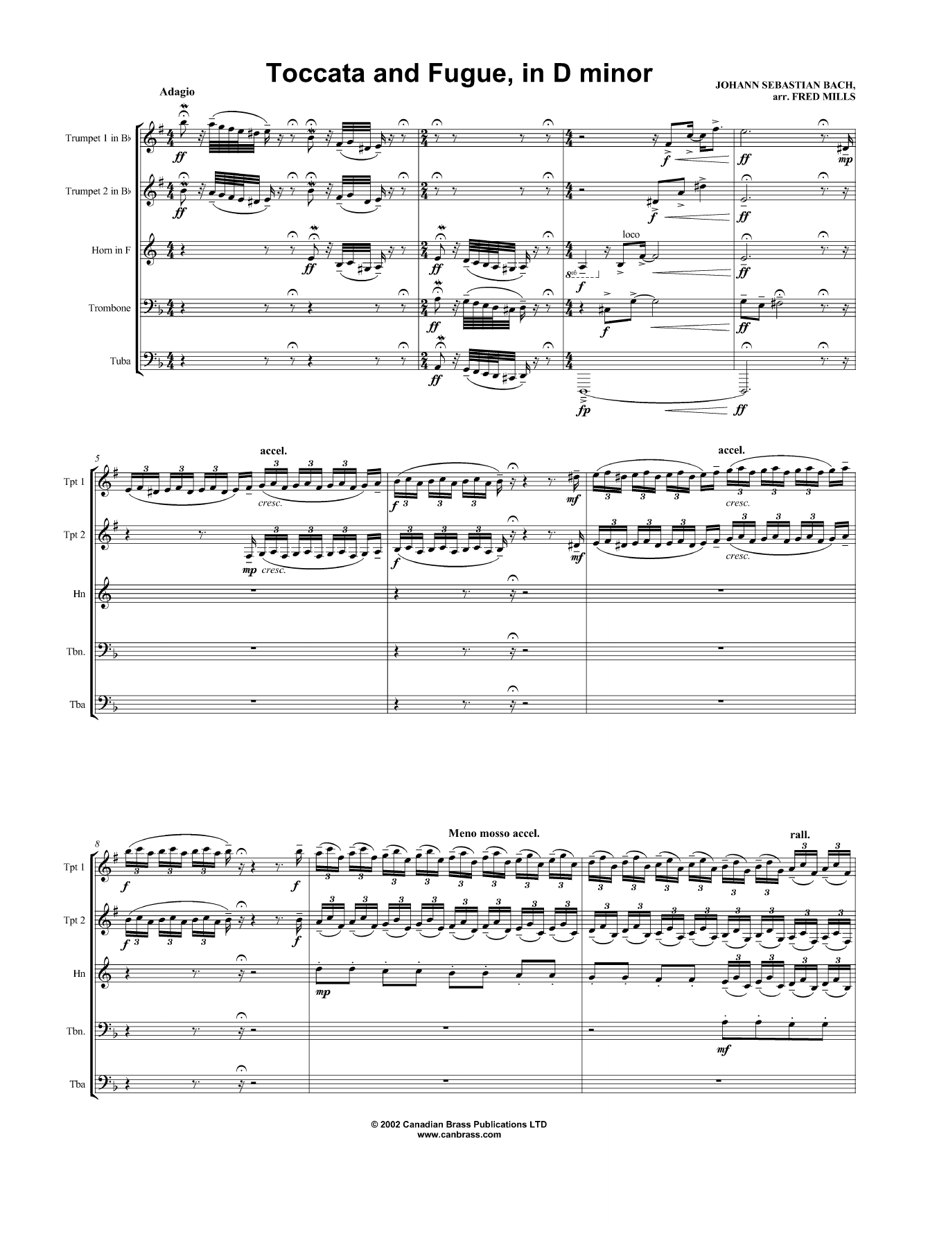 Toccata and Fugue, in D minor - Full Score Sheet Music