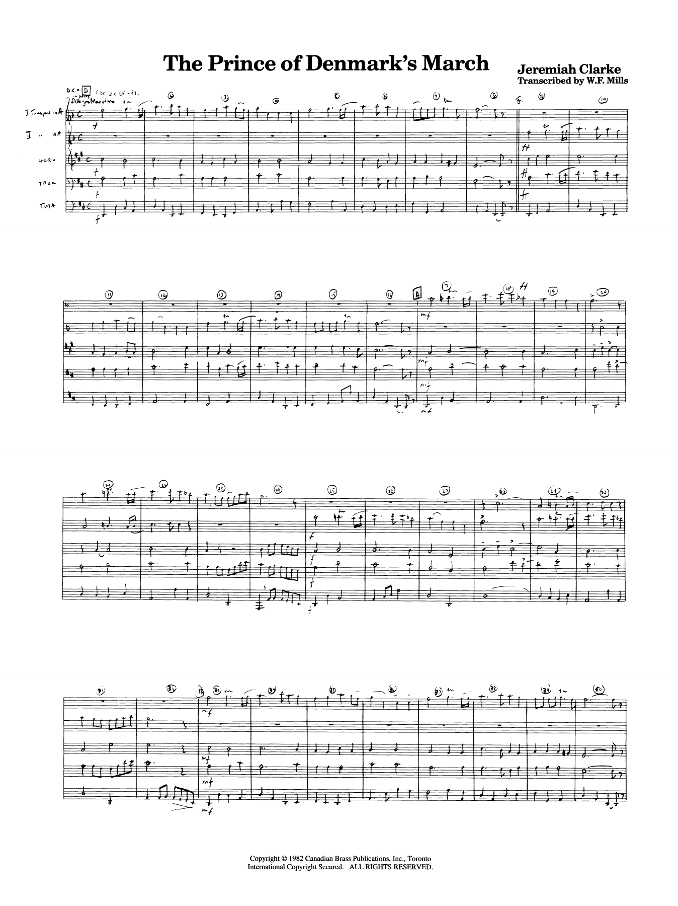 The Prince of Denmark's March - Full Score Sheet Music
