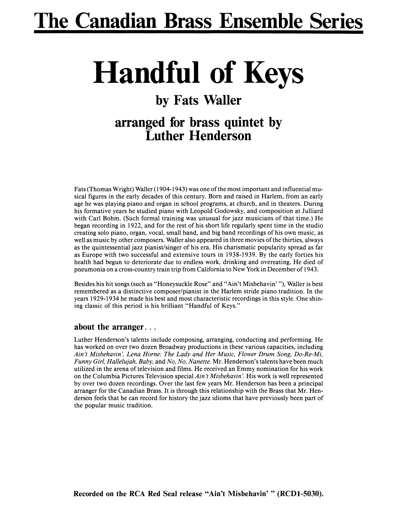 Handful of Keys (COMPLETE) sheet music for brass quintet by Thomas Waller and Luther Henderson. Score Image Preview.