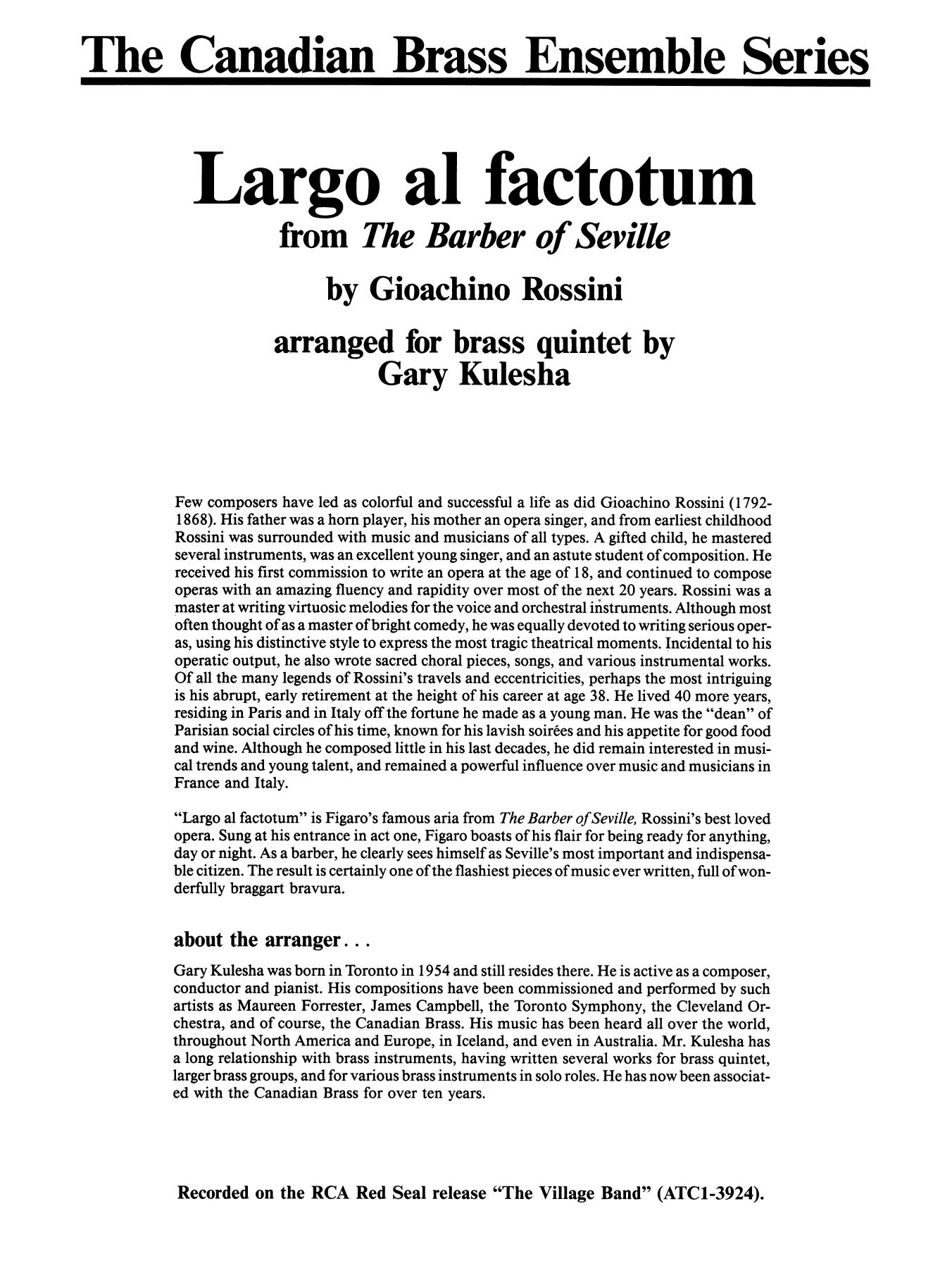 Largo al factotum from The Barber of Seville - Full Score Sheet Music