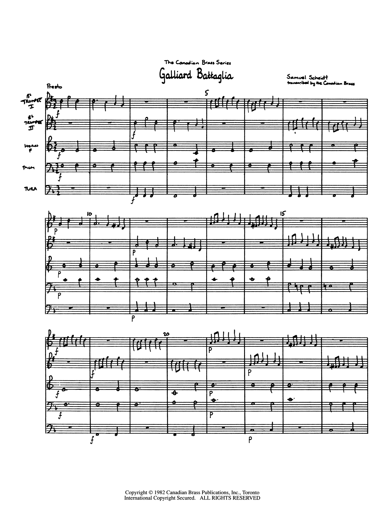 Galliard Battaglia (COMPLETE) sheet music for brass quintet by Canadian Brass and Samuel Scheidt. Score Image Preview.
