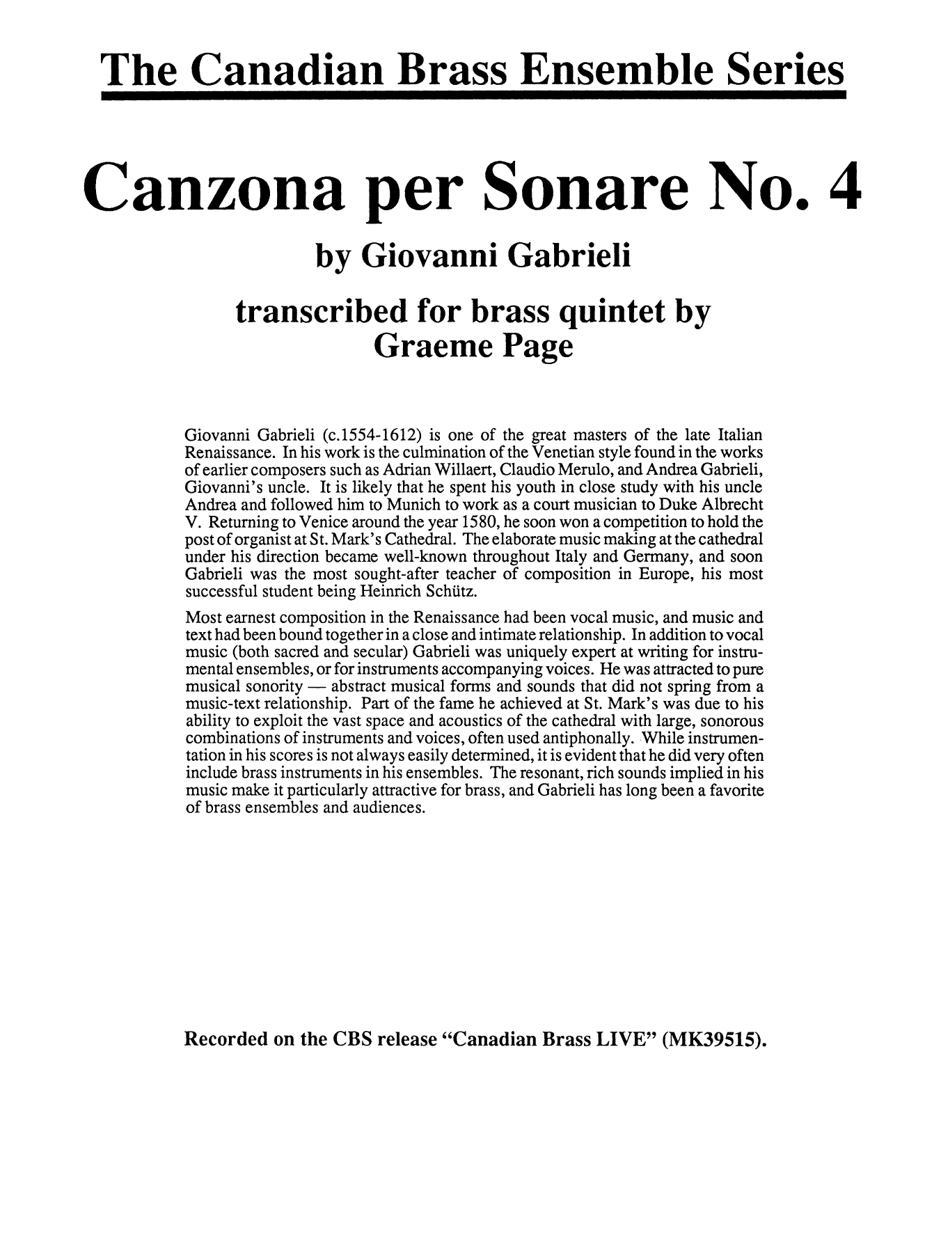 Canzona Per Sonare No. 4 - Full Score Sheet Music