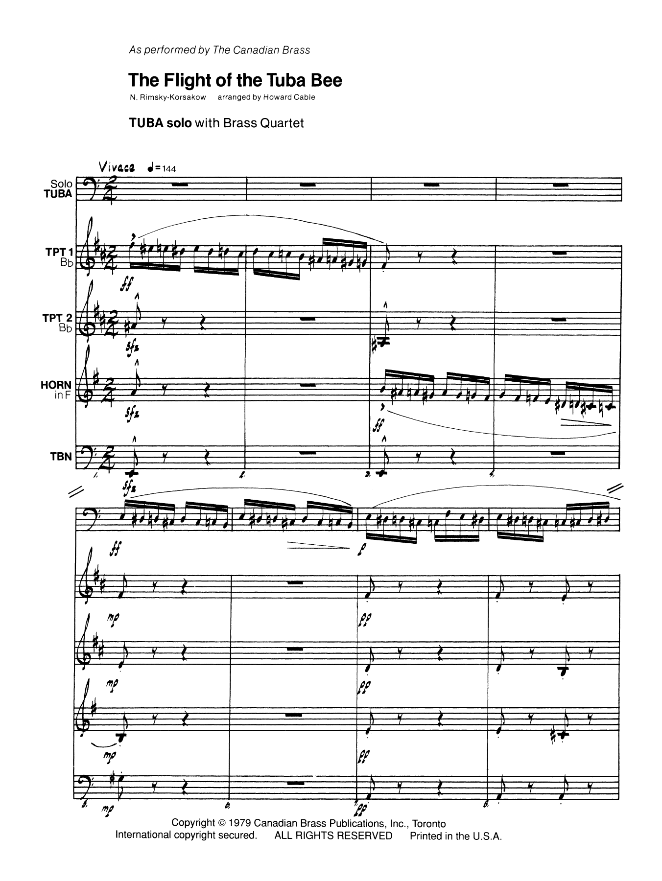 The Flight of the Tuba Bee (COMPLETE) sheet music for brass quintet by N. Rimsky-Korsakow. Score Image Preview.