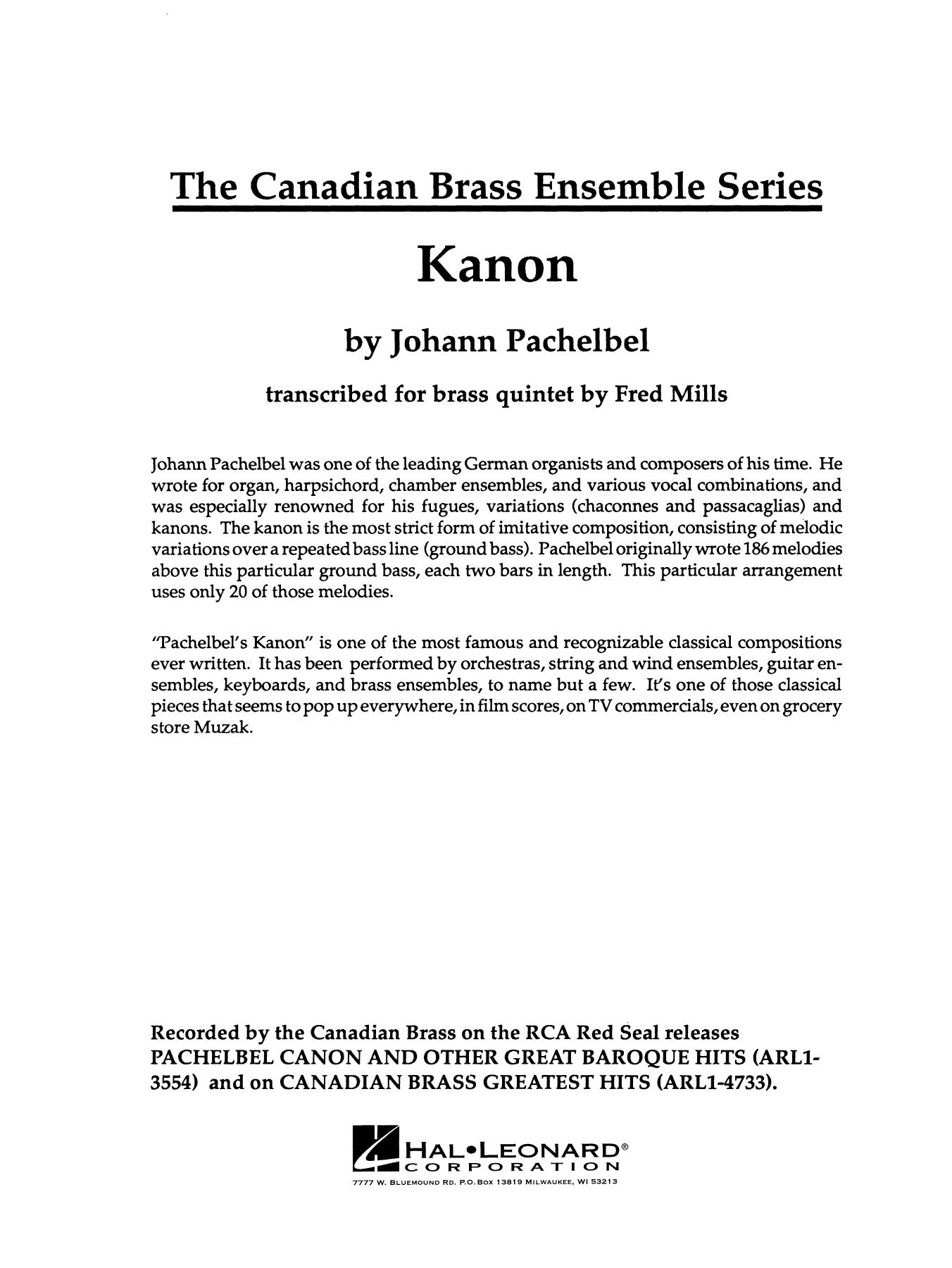 Kanon - Full Score Sheet Music