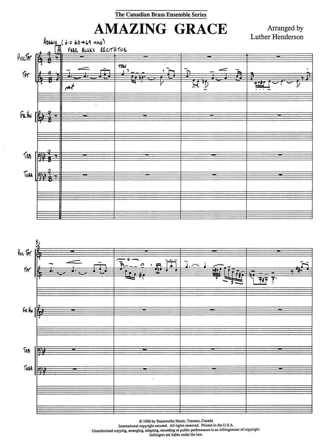 Amazing Grace - Full Score Sheet Music