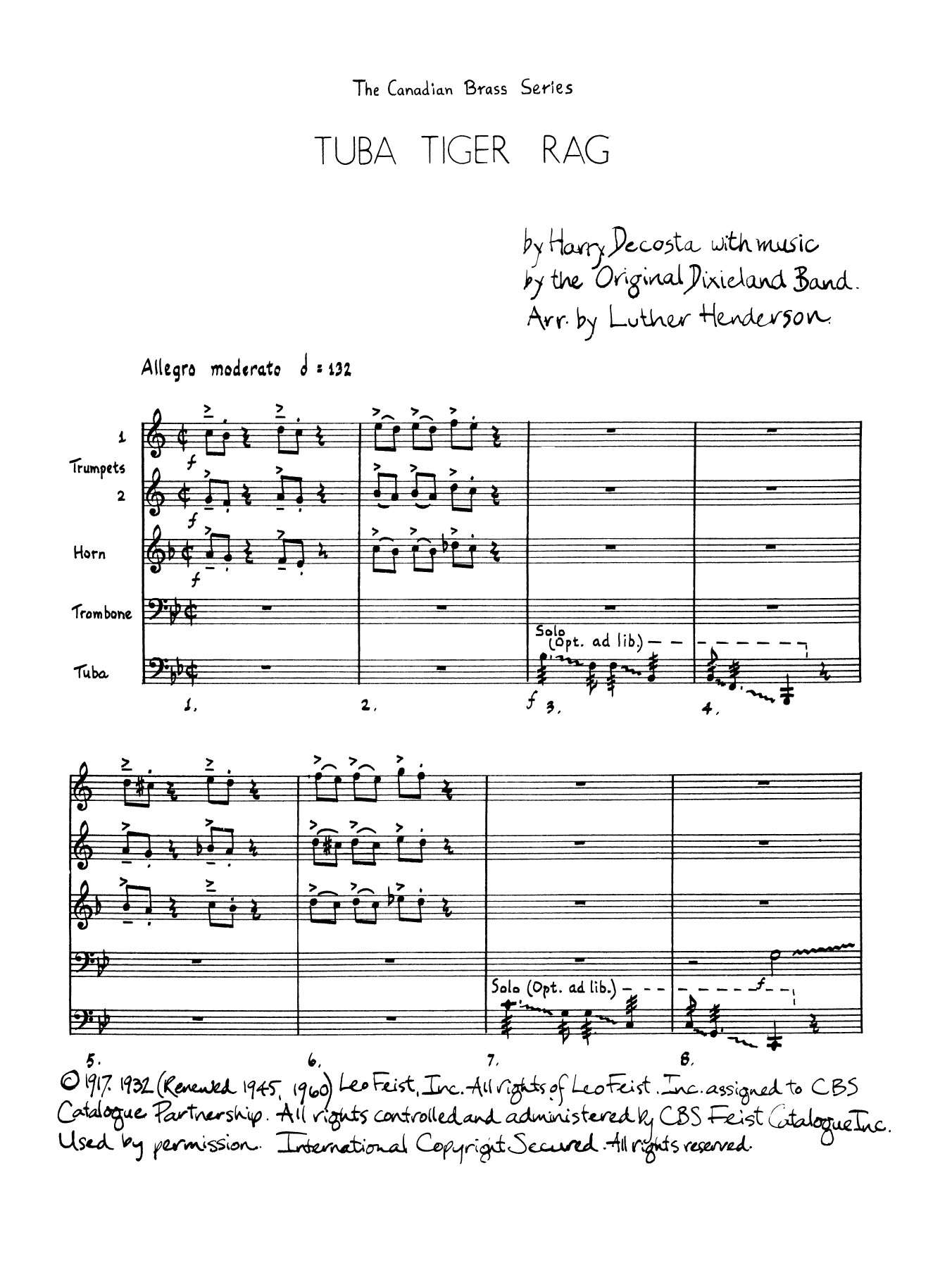 Tuba Tiger Rag - Full Score Sheet Music