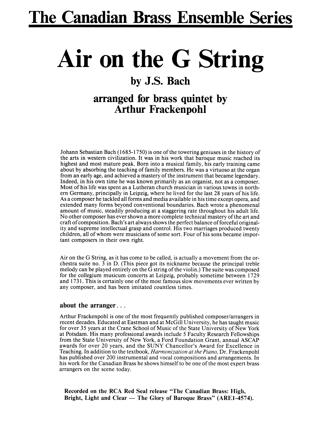 Air On The G String - Full Score Partition Digitale