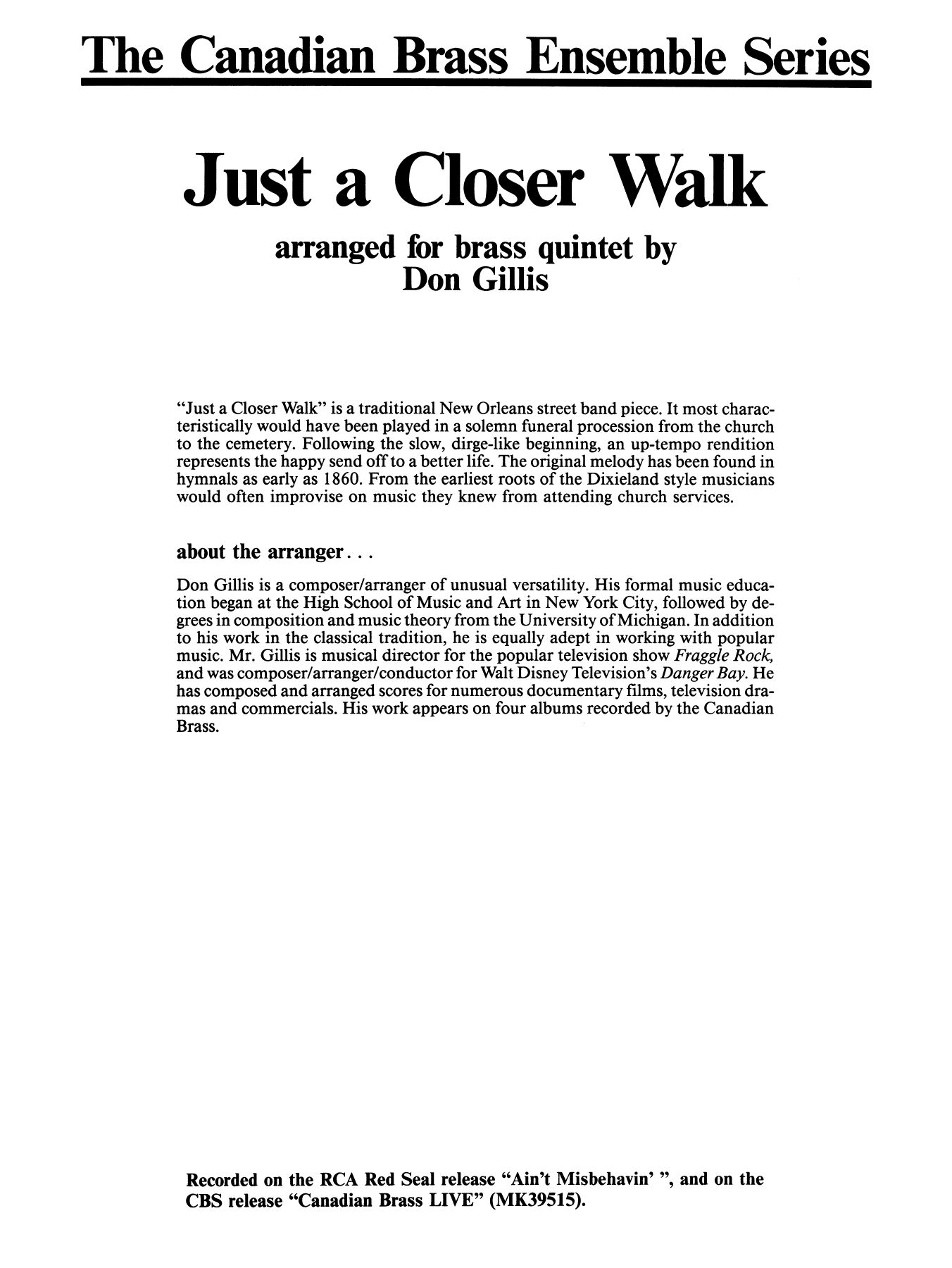Just A Closer Walk With Thee - Full Score Sheet Music