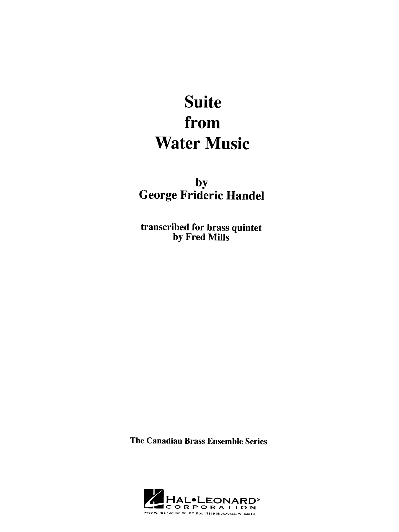 Suite from Water Music - Full Score Sheet Music