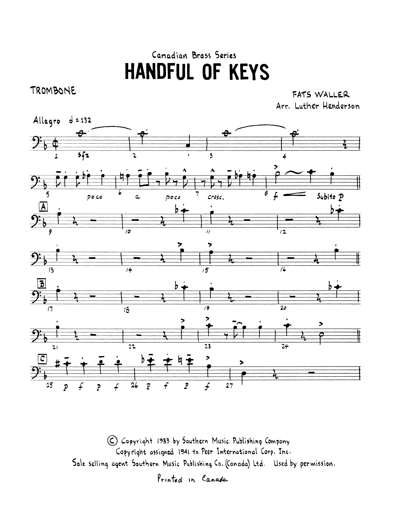 Handful of Keys - Trombone (B.C.) Sheet Music