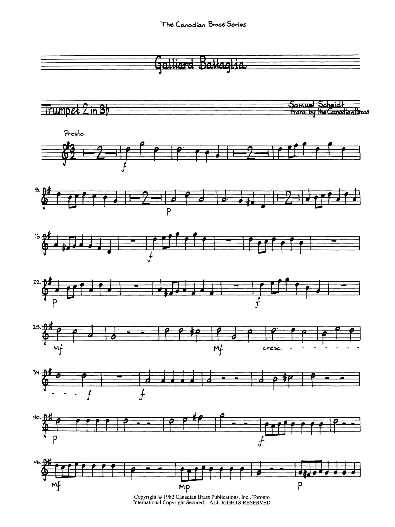 Galliard Battaglia - Bb Trumpet 2 (Brass Quintet) Sheet Music