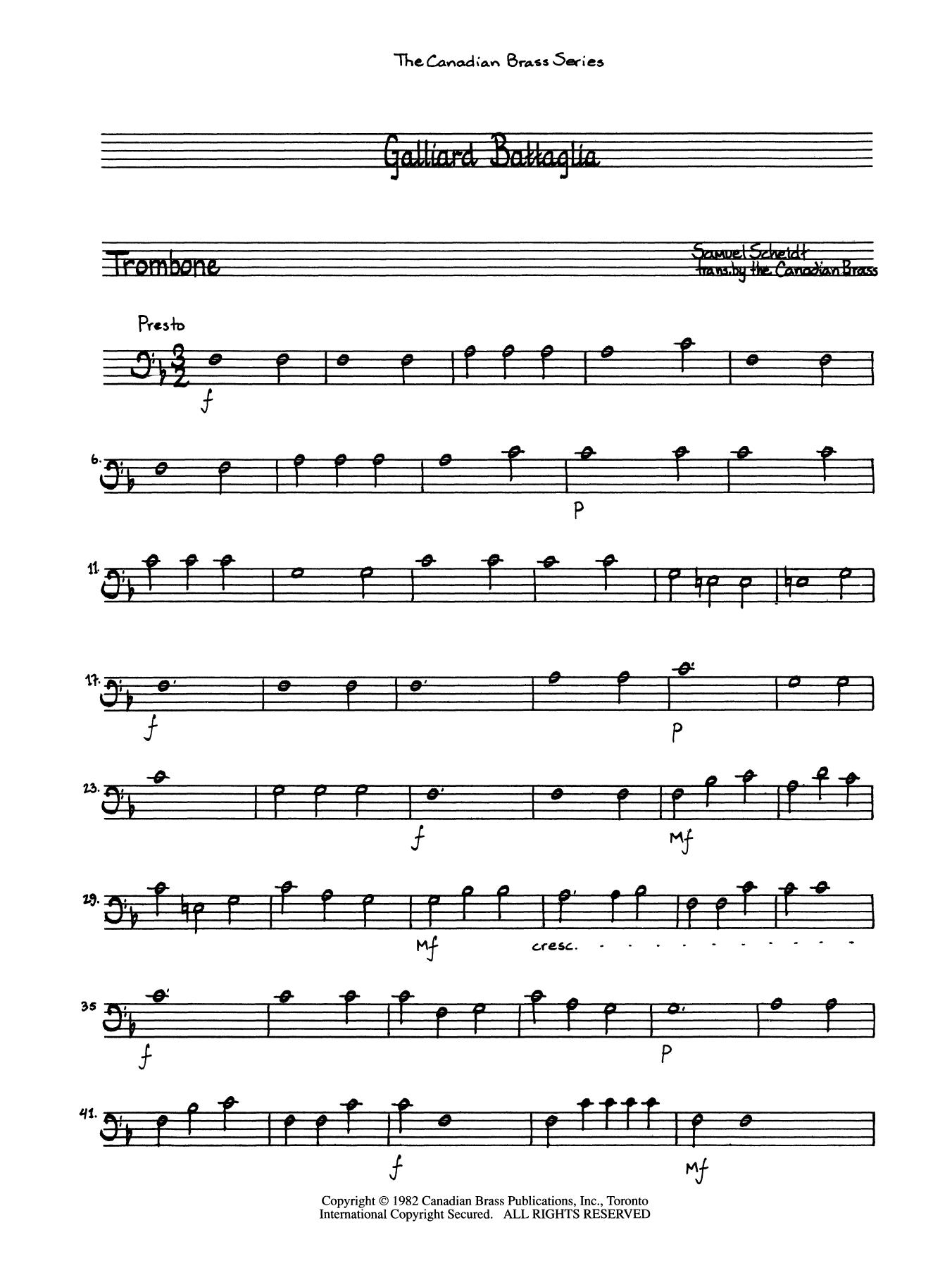 Galliard Battaglia - Trombone (B.C.) Sheet Music
