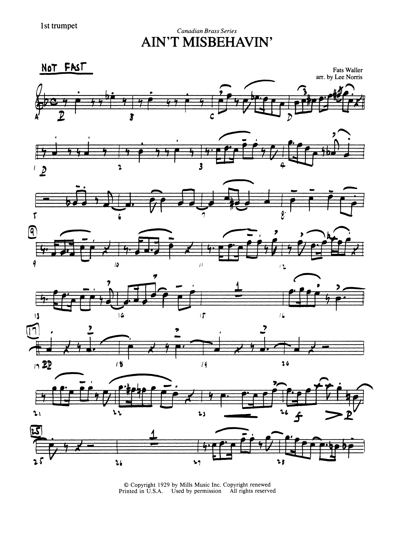 Ain't Misbehavin' - Bb Trumpet 1 (Brass Quintet) Digitale Noten