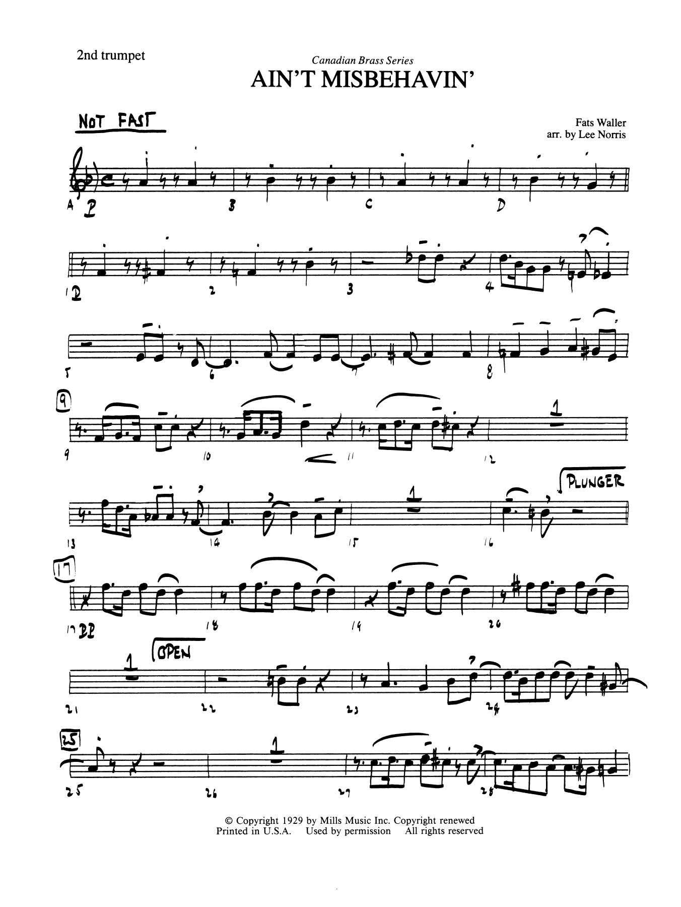 Ain't Misbehavin' - Bb Trumpet 2 (Brass Quintet) Sheet Music