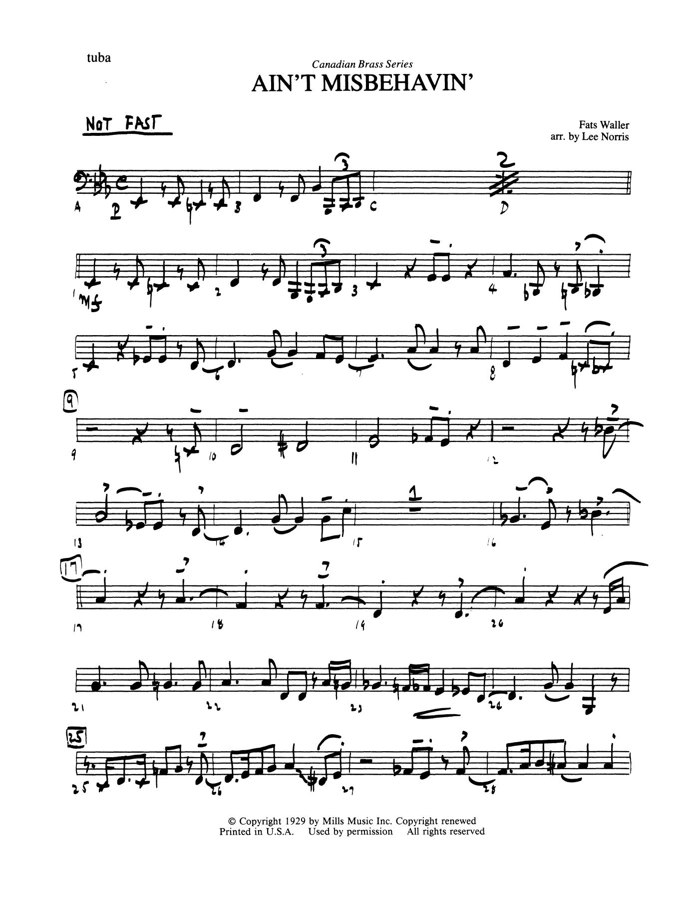 Ain't Misbehavin' - Tuba Sheet Music