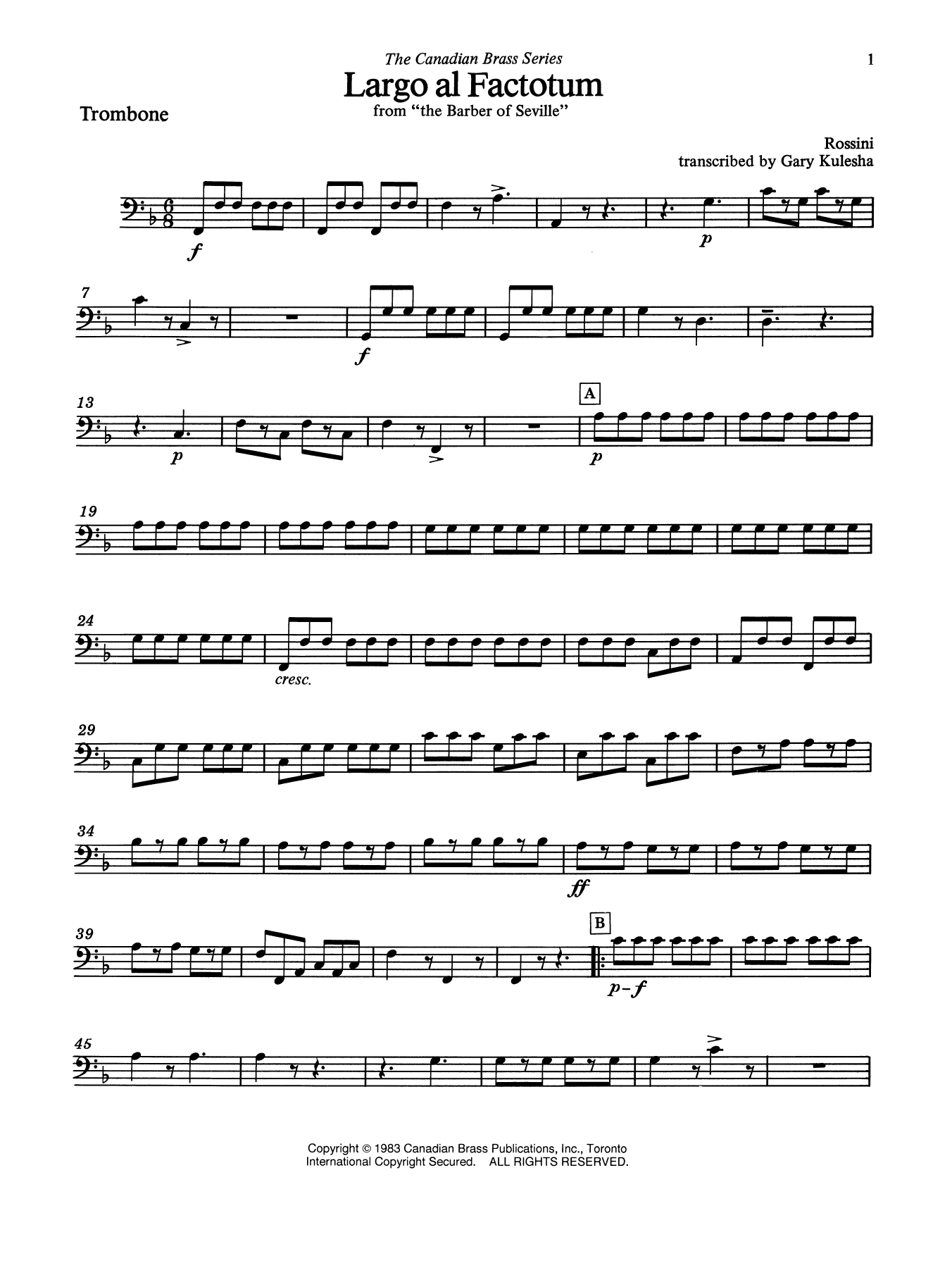 Largo al factotum from The Barber of Seville - Trombone (B.C.) Sheet Music