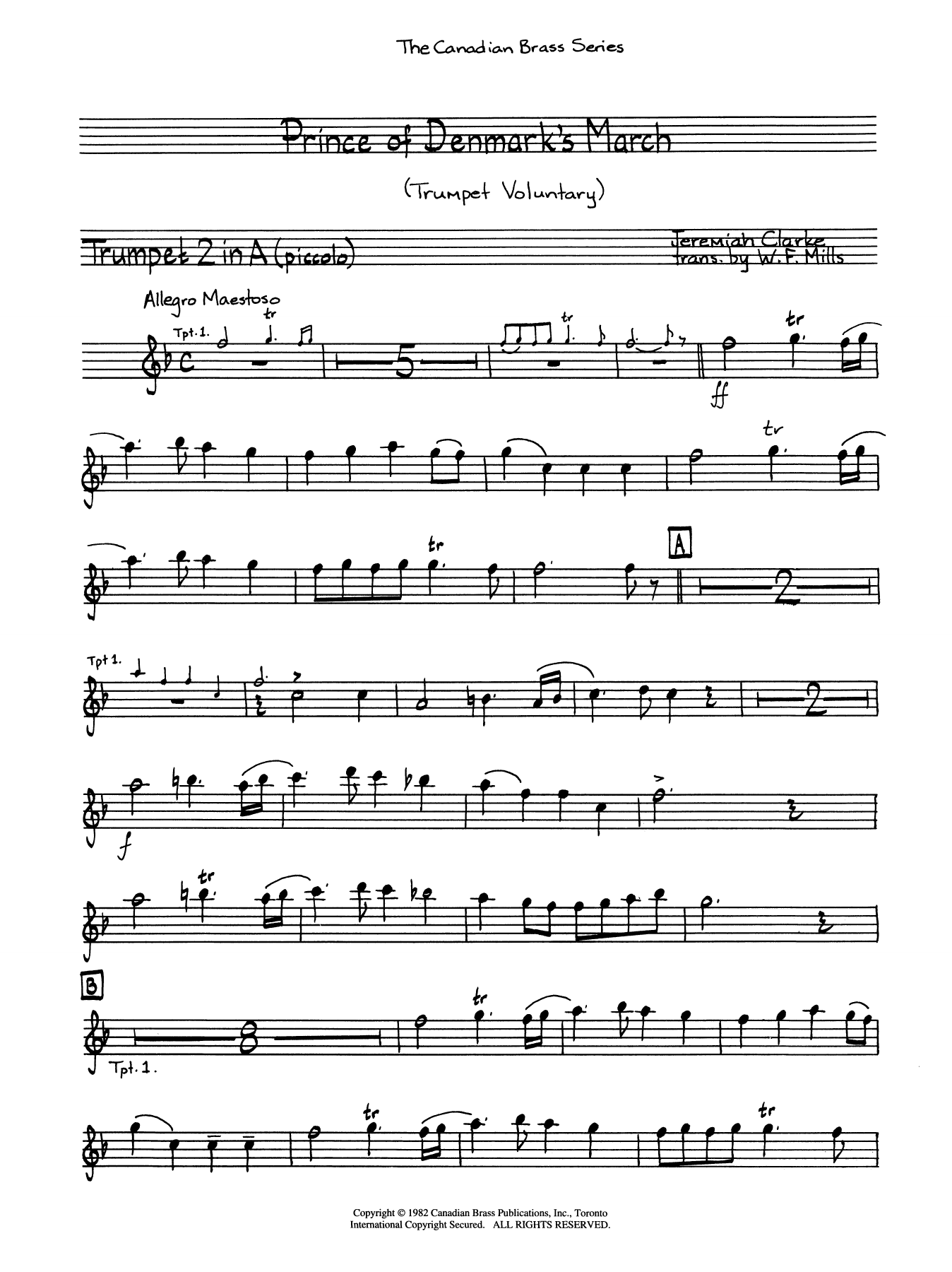 The Prince of Denmark's March - Trumpet 1 (A Picc.) Sheet Music