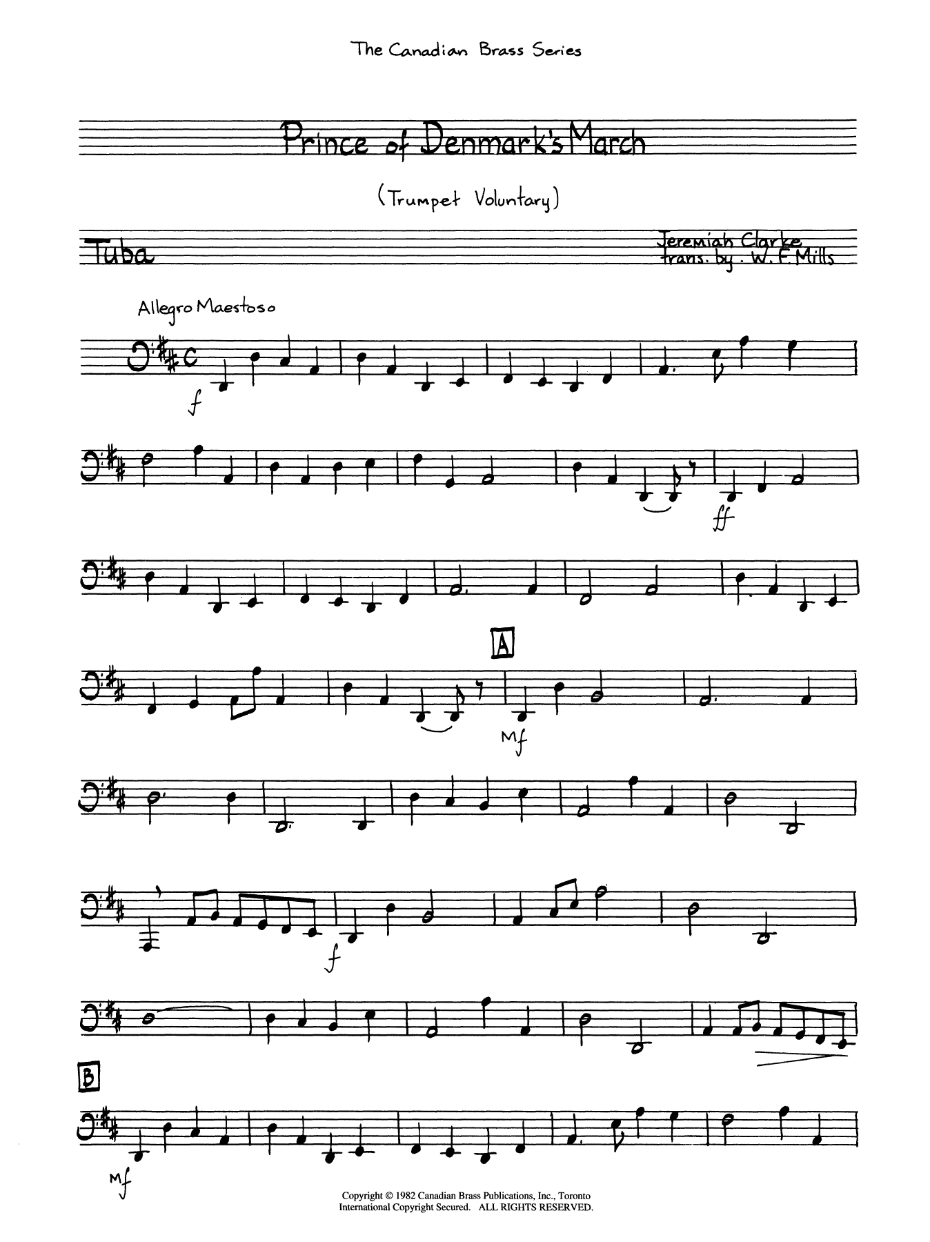 The Prince of Denmark's March - Tuba Sheet Music