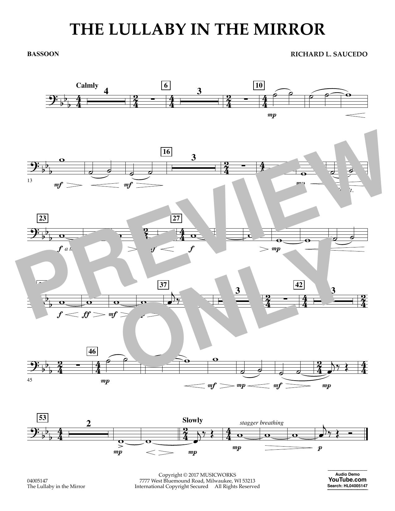 The Lullaby in the Mirror - Bassoon (Concert Band)