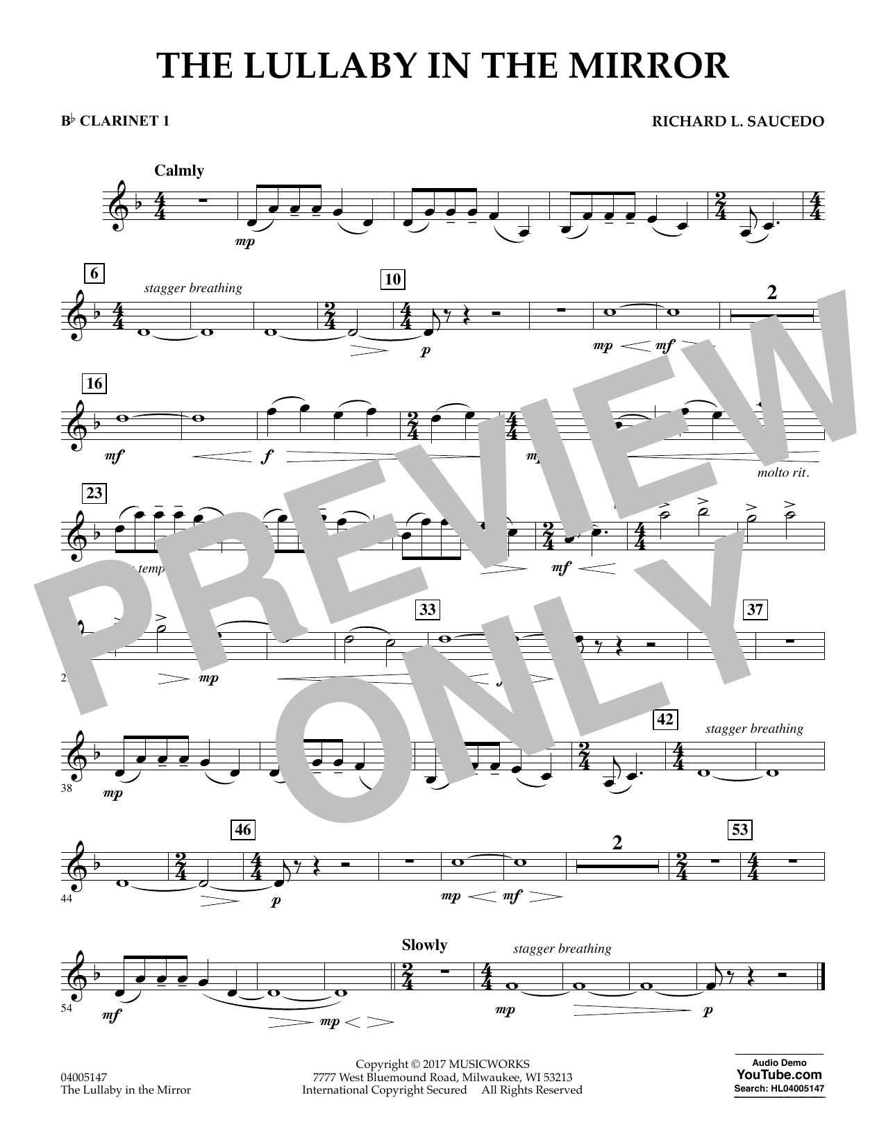 The Lullaby in the Mirror - Bb Clarinet 1 Sheet Music