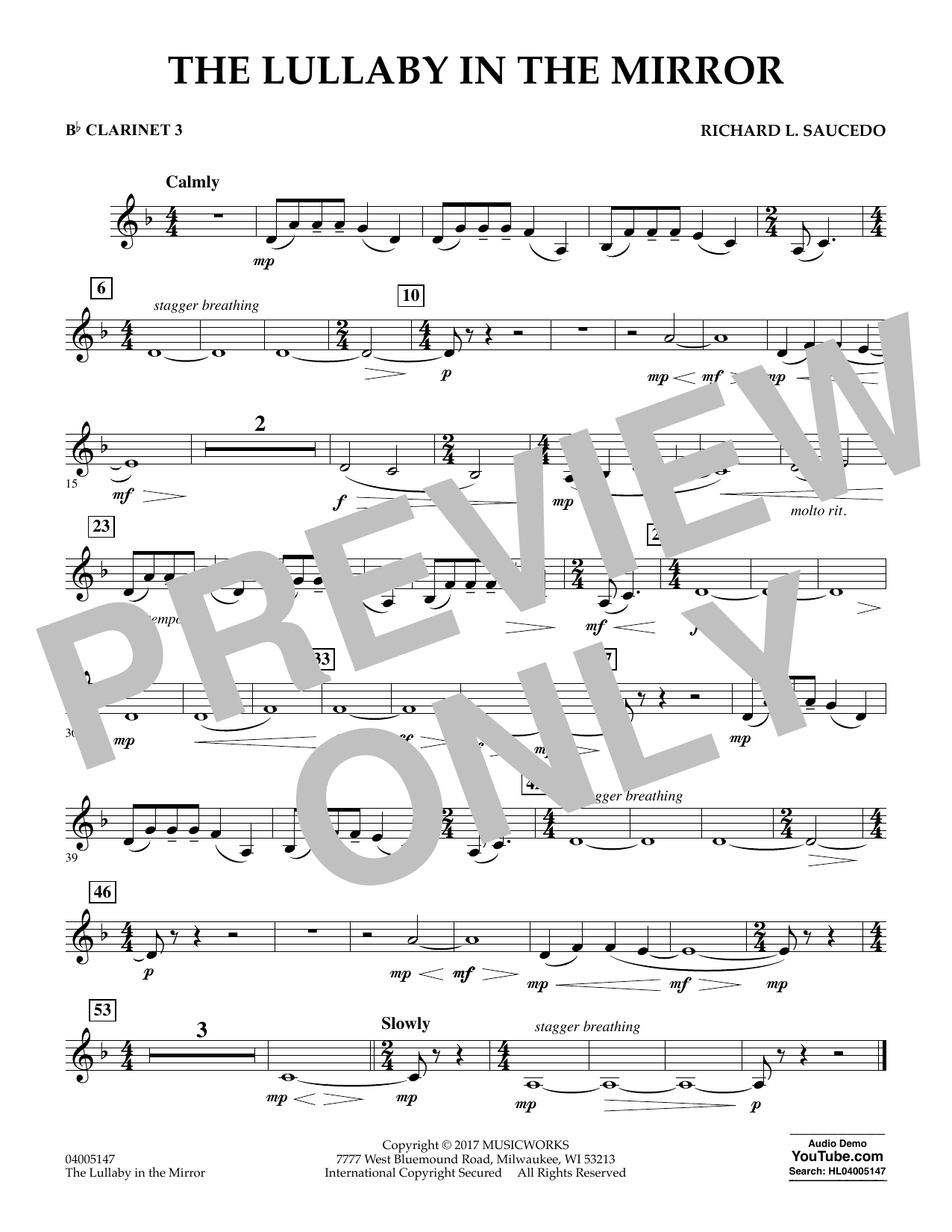 The Lullaby in the Mirror - Bb Clarinet 3 Sheet Music