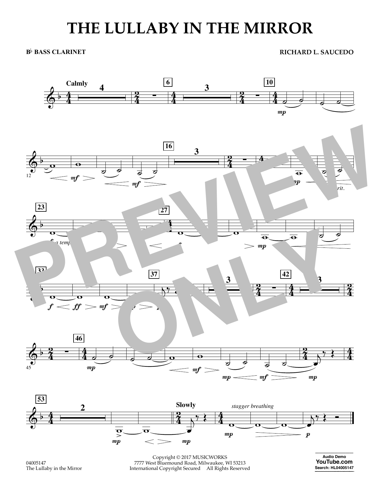 The Lullaby in the Mirror - Bb Bass Clarinet Sheet Music