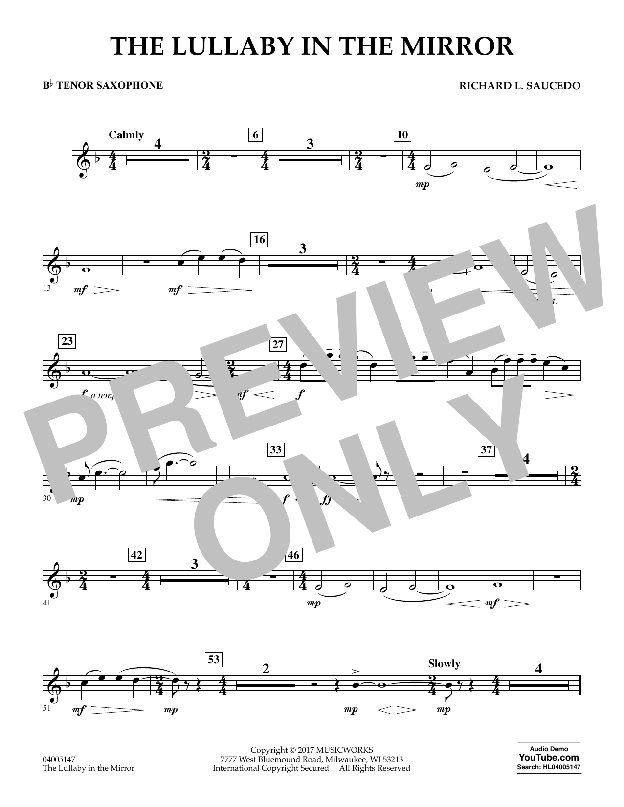 The Lullaby in the Mirror - Bb Tenor Saxophone Digitale Noten