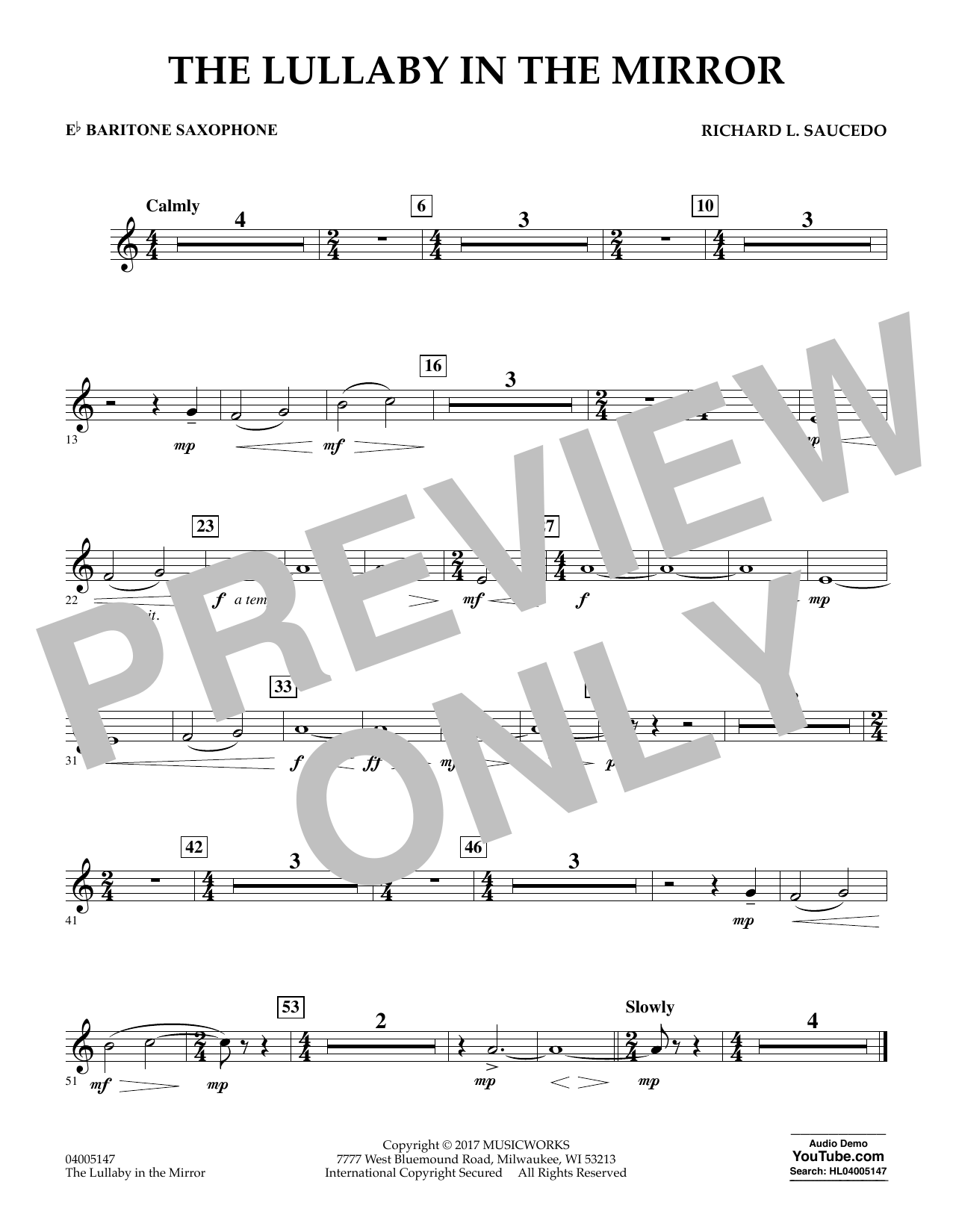The Lullaby in the Mirror - Eb Baritone Saxophone Sheet Music