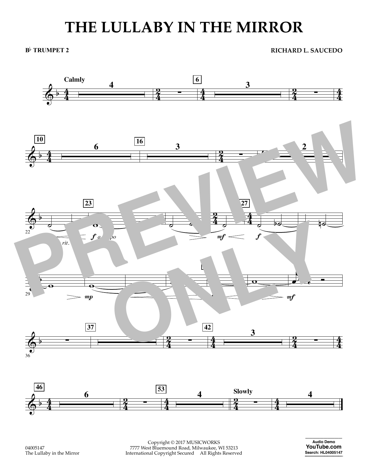 The Lullaby in the Mirror - Bb Trumpet 2 Sheet Music